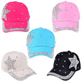 Boy Girls Rhinestone Star Shaped Baseball Caps Casual Cap Adjustable Sun Snapback Hats Free Shipping