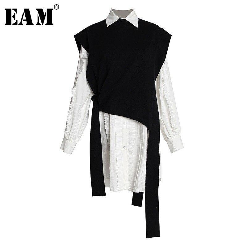 [EAM] 2019 nouveau printemps été revers Long blanc lâche plissé tricot Bandage gilet deux pièces chemise robe femmes mode JL177