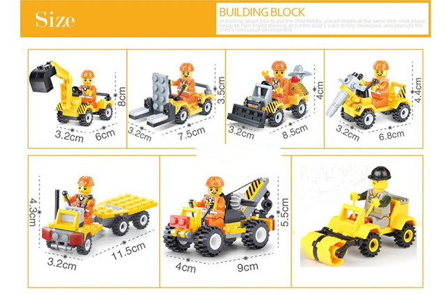 7 Pieces City Construction Building Blocks Sets
