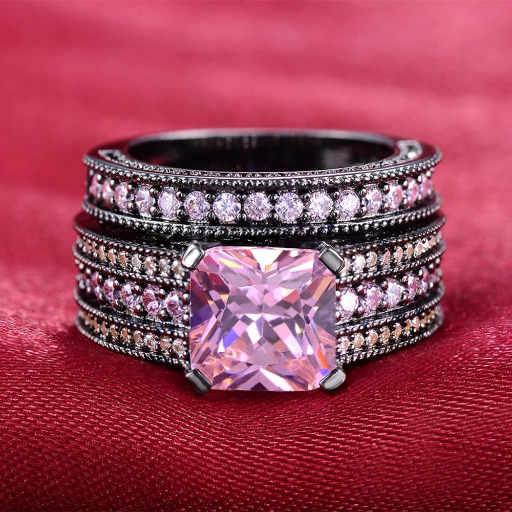 Vintage Black gold color Ring Sets For Women finger pink stone AAA ...