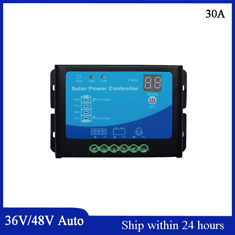Smart Automatic Identification 36V/48V 30A PWM Solar Charge Controller with LED light Show Battery/Soalr Panel Charge Regulator 30a solar charge controller regulator 15w solar panel 12 24v portable power bank board automatic identification pwn battery