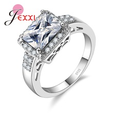 JEXXI Fine 925 Sterling Silver Ring Women Wedding Jewelry Accessory Luxury Fashion Rectangle Finger Ring