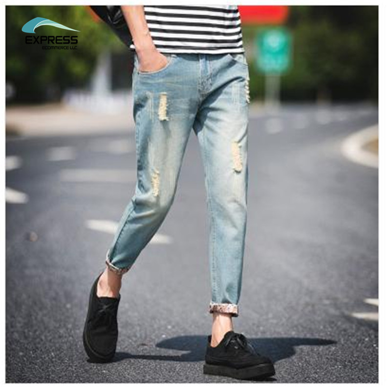2017 New Spring And Summer New Men's Pantyhose Hole Jeans Popular Youth Slimhole Male Ankle-length Plus Hot Free Shipping