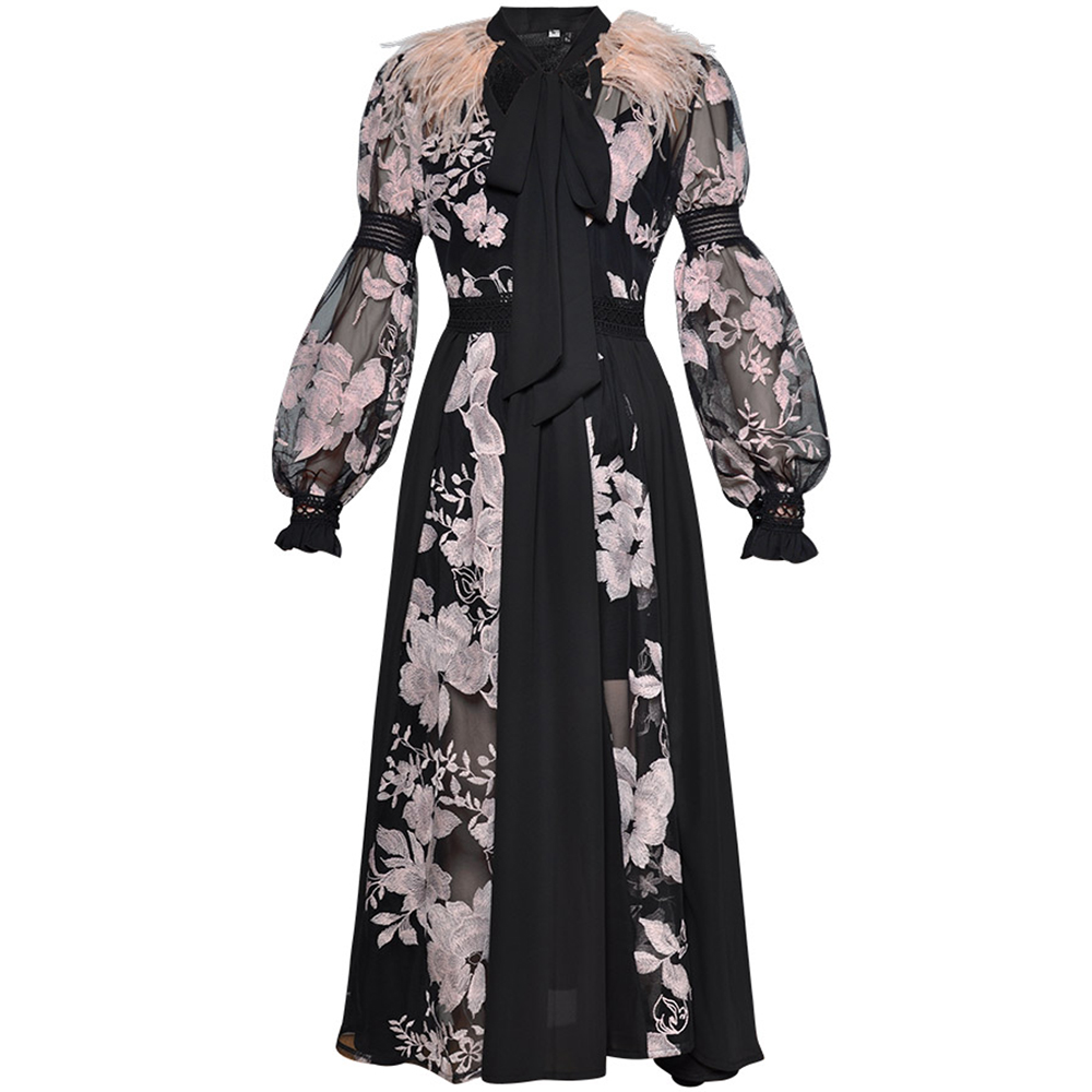 70a93ebf9 GoodliShowsi 2019 Runway Black Pink Feather Embroidery Elegant Black Dress  Long Lantern Sleeve Midi Dress Holiday Party Dress