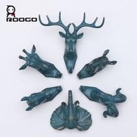 Roogo wall hooks decoration Brief modern animal head hanger vintage stereo console key organization coat home decoration storage