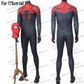 Hero catcher para 175 cm de altura traje negro de spiderman con suelas fullbody spandex de halloween cosplay traje de spider-man