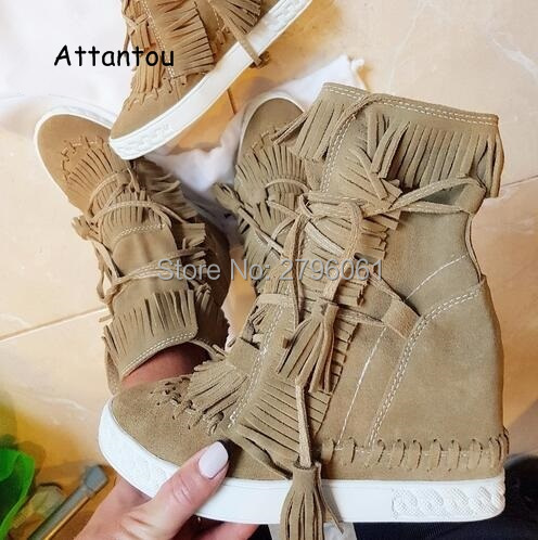 Top Quality Women Spring Autumn Fringed Wedge Hidden Casual Shoes Suede Leather Platform Ankle Boots Lace Up Woman Shoes front lace up casual ankle boots autumn vintage brown new booties flat genuine leather suede shoes round toe fall female fashion