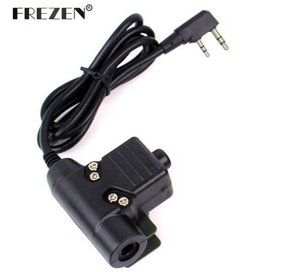 imágenes para U94 PTT Cable Plug Adaptador Z113 Military Standard Version para Walkie Talkie Kenwood Motorola TYT F8 BAOFENG 5R Radio de Caza