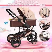 Детская коляска 8 в 1 четыре коляска на колёсах, лежащая Складная Лампа, вес ребенка, четыре сезона, детская коляска, прогулочная коляска