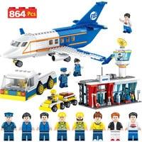 864pcs City Technik Series Airport Passenger Bricks Compatible Legoingly City Building Blocks Terminal Aircraft Car Toys Boys