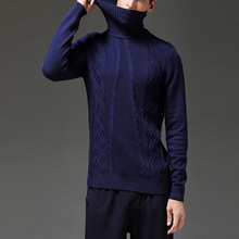 2020 New Arrival Winter Thick Warm Sweaters Turtleneck Lines Cotton Sweater  Pull Homme Solid