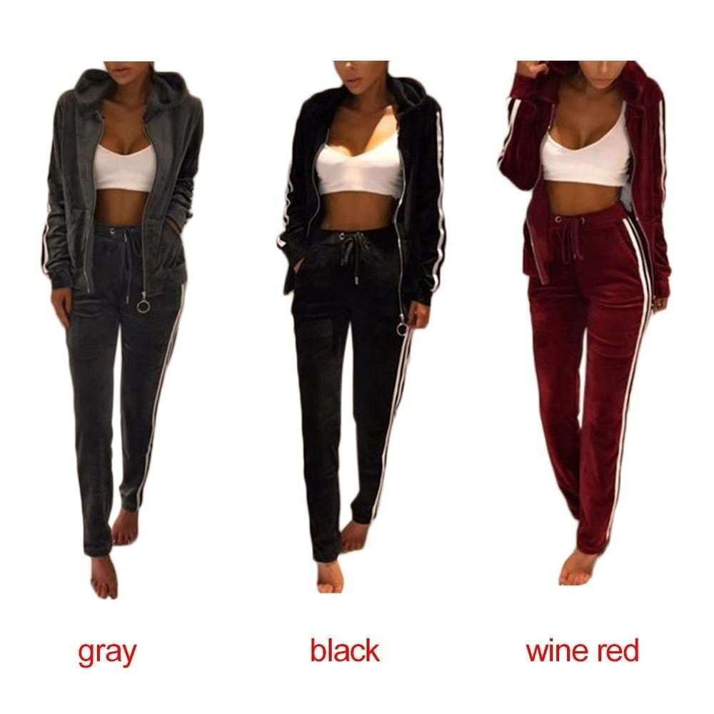 Zogaa 2019 Spring Tracksuit Long Sleeve Thicken Hooded Sweatshirts 2 Piece Set Casual Style Zipper Ladies Two Piece Outfit Sets