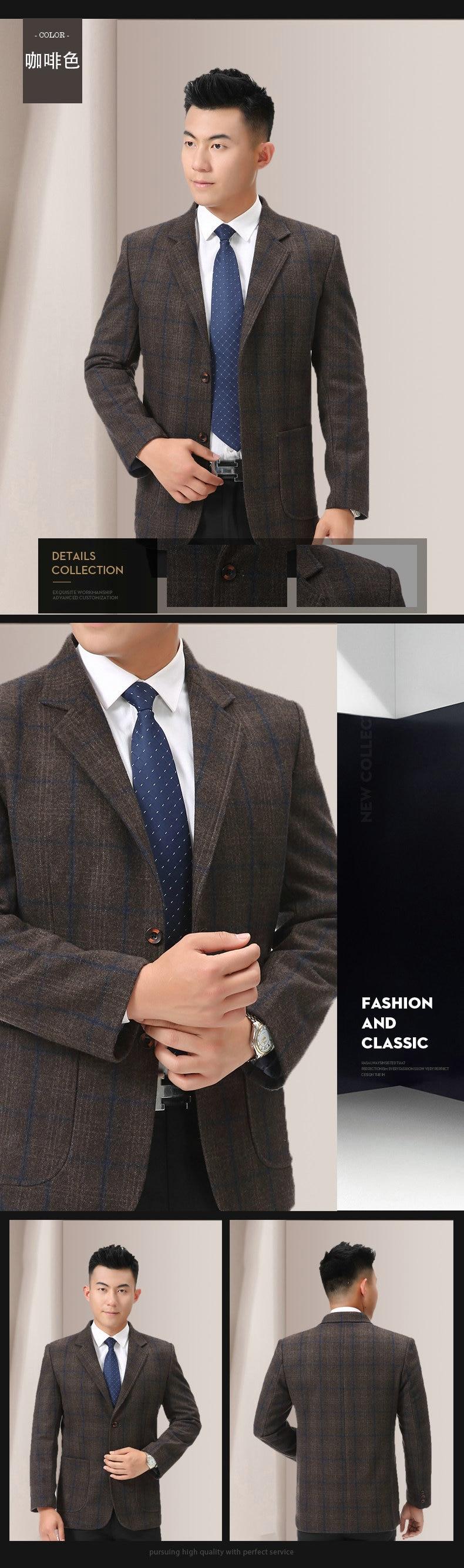 WAEOLSA Man Wool Blazer Plaid Jacket Suit Men Woollen Blends Garment Male Smart Casual Balzers Black Gray Jacket Suit Man (9)