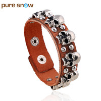 Pure Snow Fashion Personality Handmade Charm Jewelry Wholesale Vintage Alloy Skull Rivet Leather Bracelets Men S