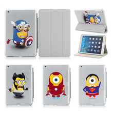 Fashion Design Captain America Superman Wolverine Magnetic Smart Cover + Back Crystal Hard Cover For Apple iPad 5 6 Air 1 2 Case