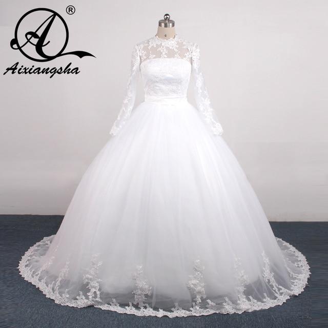 d4cabc2f954cbf Benutzerdefinierte Musselin Hochzeit Kleid Hohe Kragen Spitze Perlen  Langarm Braut Langes Kleid Weiß Gericht Zug Braut