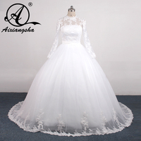 Custom Muslin Wedding Dress High Collar Lace Beading Long Sleeve Bridal Long Dress White Court Train Bridal Dress Arabic Mariage