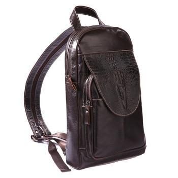 Multipurpose Sling Chest Rucksack Genuine Leather Men Back pack Crocodile Pattern Retro Messenger Bags Male Single Shoulder Bag