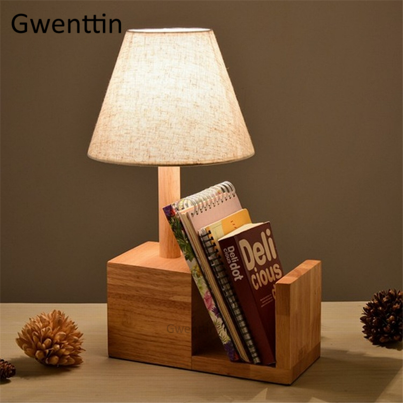Wooden Bookshelf Table Lamp for Reading Study Bedroom Lamp Modern Led Desk Light Fixtures Nordic Industrial Home Decor Luminaire