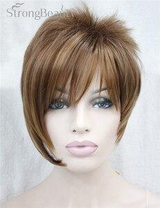 Image 2 - 強力な美少女合成天然ウェーブ短辺部ブロンドかつら前髪とスマートヘアスタイル若い女性のためのコスプレかつら
