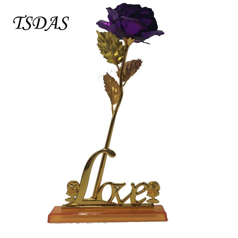 연인을위한 24k 골드 로즈 발렌타인 선물, 황금 홀더 & 선물 상자와 보라색 인공 꽃 드롭 선박 1pc