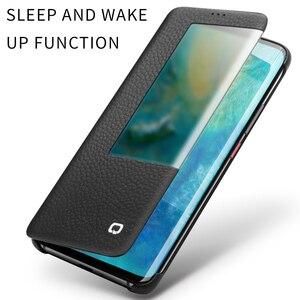 Image 5 - QIALINO Ultra sottile del Cuoio Genuino di Caso di Vibrazione per Huawei Mate 20 Pro Telefono Cellulare di Lusso Della Copertura con Smart View per huawei Compagno di 20 X