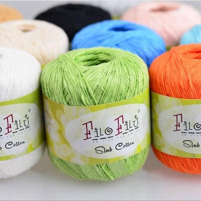 Filo Filu Brand 100% Cotton Yarn Hand Knitting for Baby Spring/Summer Slub Cotton Yarn , 6Pcs 300G/lot