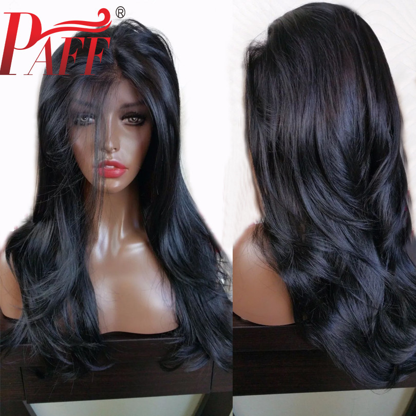 PAFF 360 Deep Part Wig Lace Front Human Hair Wig 180 Density Natural Wave Lace Front Wig Preplucked Hairline Bleached Knots