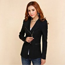 Candy Color Long Sleeve Women Zipper Suit Slim Casual Jacket Coat Outwear