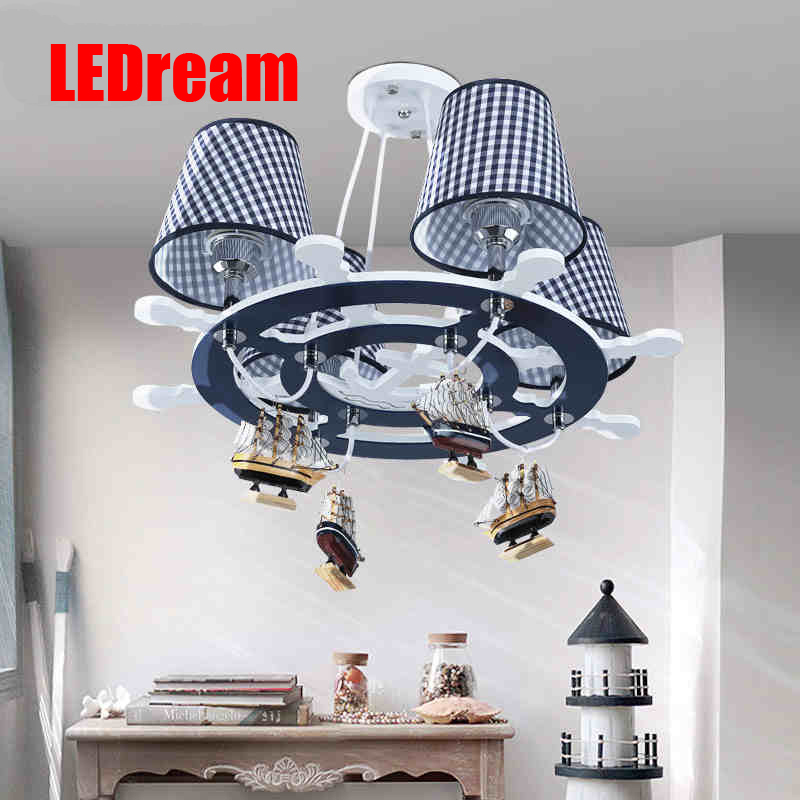 The new Mediterranean rudder LED droplight of children room The boy bedroom lamps  shield an eye creative cartoon art the lighthouse the children room that the mediterranean is adjustable light shape creative study adornment lanterns a bed boy