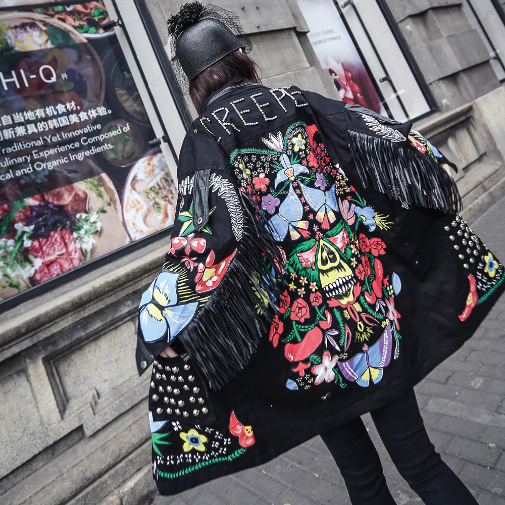 Trench   Coat Real The New Spring 2017 Han Edition Of Nail Bead Rivet Joker Coat Printing Tassel In Zipper Stitching Female Long