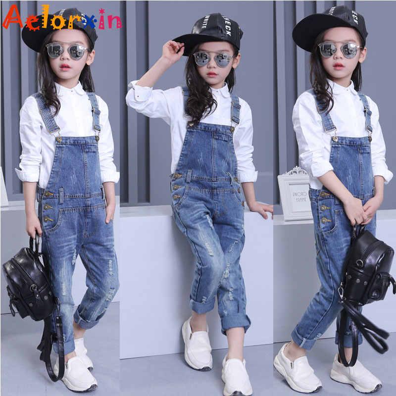 Denim tulum kızlar için kot pantolon çocuk giyim 2019 ilkbahar sonbahar kız tulum çocuk pantolonu kızlar için 8 9 10 12 yıl