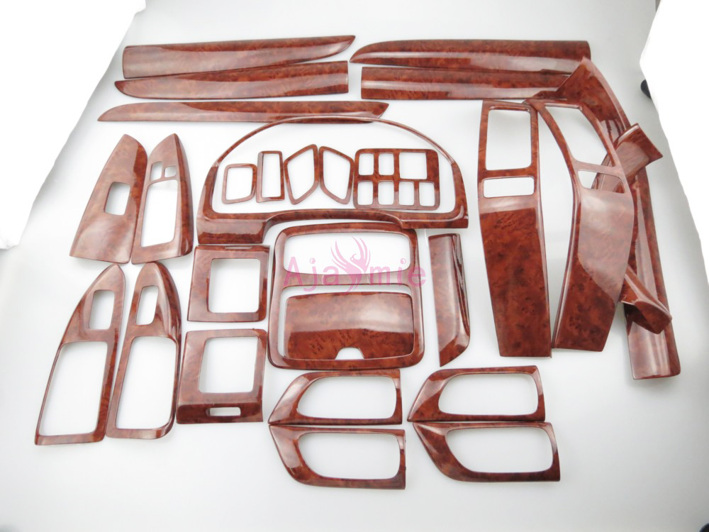 Interior Wooden Color Trim Panel Cover Overlay 2003-2009 Car Styling For <font><b>Toyota</b></font> Land Cruiser 120 <font><b>Prado</b></font> <font><b>FJ120</b></font> <font><b>Accessories</b></font> image