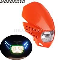 Bicicleta da sujeira motocross farol com led turn signal light para yamaha ktm exc mxc 525 450 85 enduro sxc 530 xt660 wr250 wr125 xt125
