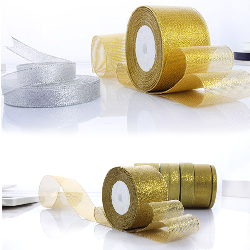 25yard 6mm 25mm 30mm 40mm 50mm organza gold silver glitter satin ribbon bias binding for wedding christmas crafts bow decoration