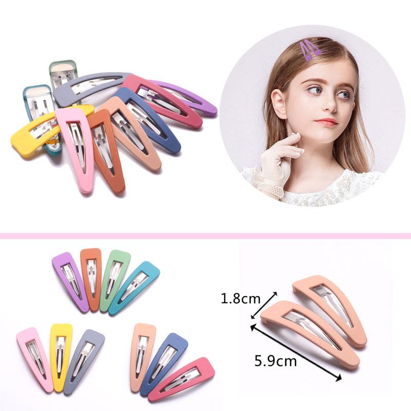 Baby Girls Hair Clips for Hair Styling Cute Matte Snap Clip Pin Children Women Kids Hairpins Metal Triangle Color Barrettes 2pcs