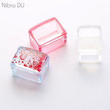 1 Pcs Clear Jelly Nail Stamper Silicone Head Pink Blue White Handle Nail Art Stamping Tool With Scraper Manicure Tool Set(China)