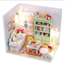 Diy Doll House 3D Handmade Wooden Miniature Study Room Kits Dollhouse Led Lights M012