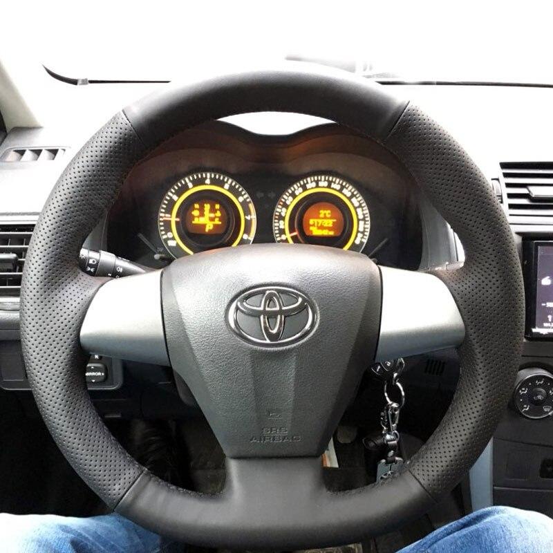 LUNDA Black Leather Hand-stitched Car Steering Wheel Cover for Toyota Corolla 2011 2012 2013 RAV4 2011 2012 aosrrun car accessories sew genuine leather car steering wheel cover for chery tiggo 3 2011 2012 2013