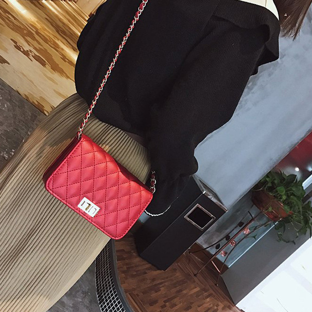 Women Bag Female Handbags Leather Over Shoulder Bag Crossbody Quilted Chain Diamond Red Small Flap Lock Fashion Sling Lady Bags 1