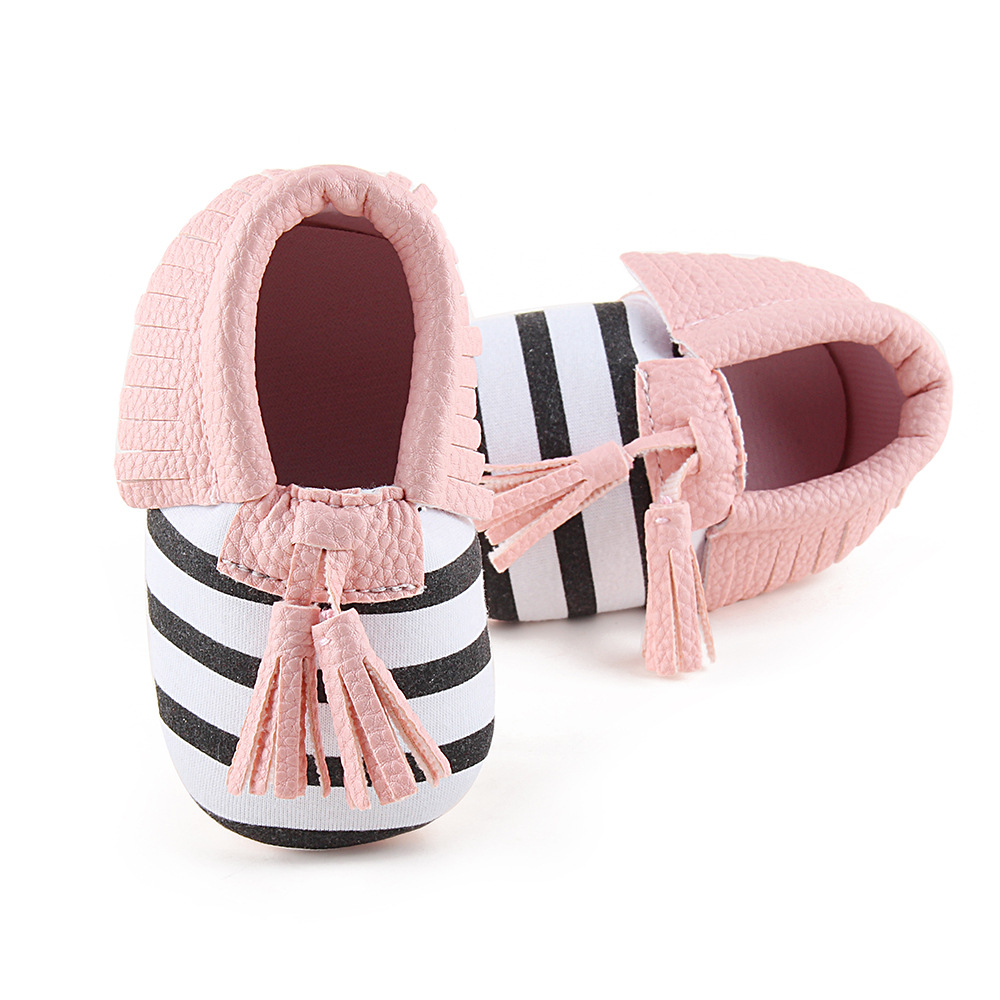 No LOGO PU Suede Leather Baby Girls Shoes Solid Striped Newborn Infant Toddler Princess Tassel Baby Moccasins Soft Sole