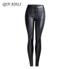 QIN AJILI Womens Jeans PU Pencil Pants Punk Style Skinny Mid Waist Lace Up Trousers Drawstring Femme Cotton Black Full Length