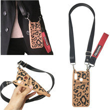strap silicon case for samsung galaxy note 9 8 s8 s9 plus s7 edge cover 3d cute cartoon leopard beard cat shoulder lanyard