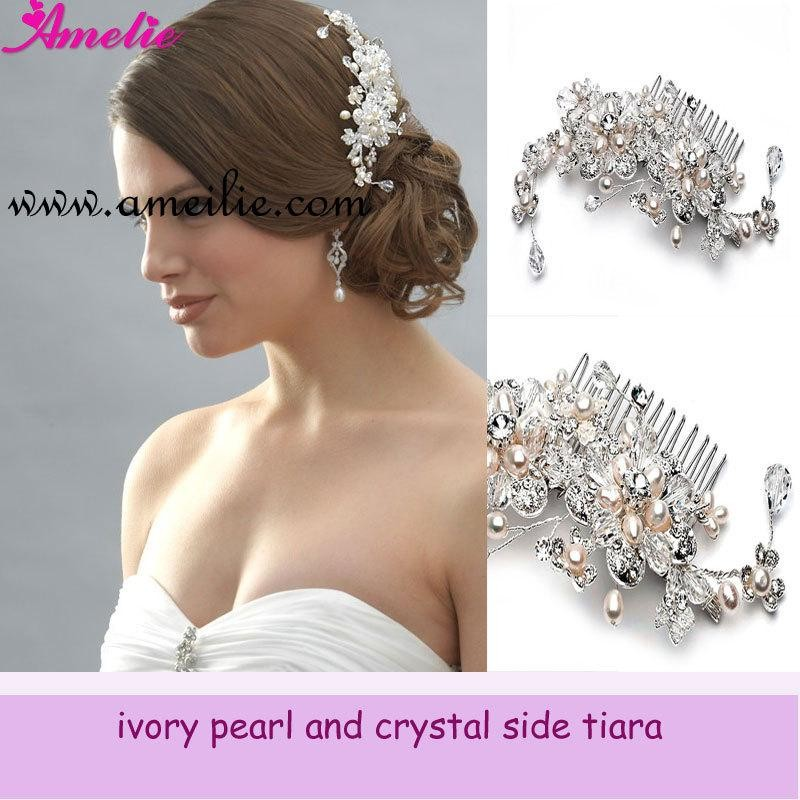 Newest Vintage Bridal Pearl Wedding Hair Comb Styles Crystal Bling Flower Sparkly Girls Prom Party Rhinestones Hair Accessories free shipping wedding bridal prom shining rhinestones crown tiara crystal pearl bridal wedding hair accessories 3pcs lot myqc008