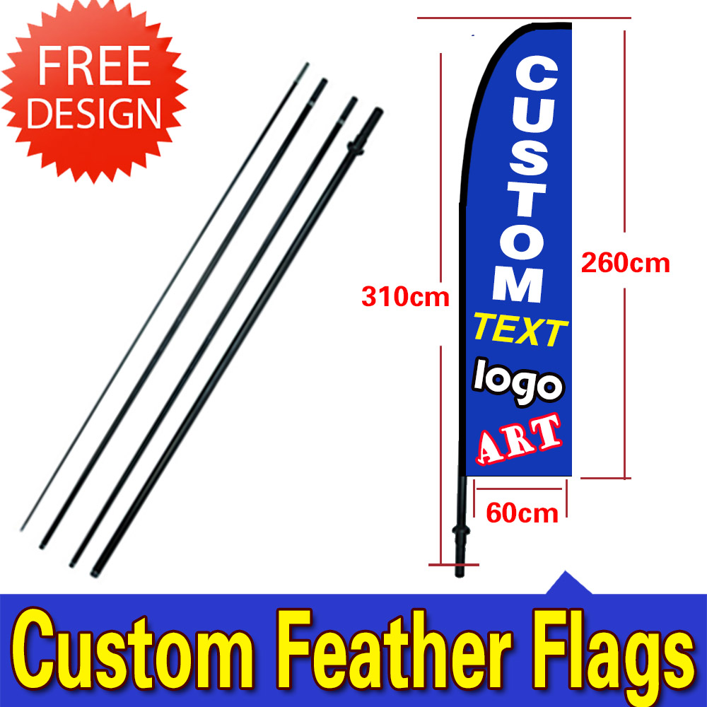 8ft Feather Banner - Style 1 Single-Sided, Poles and Cross Base Included Grand Opening