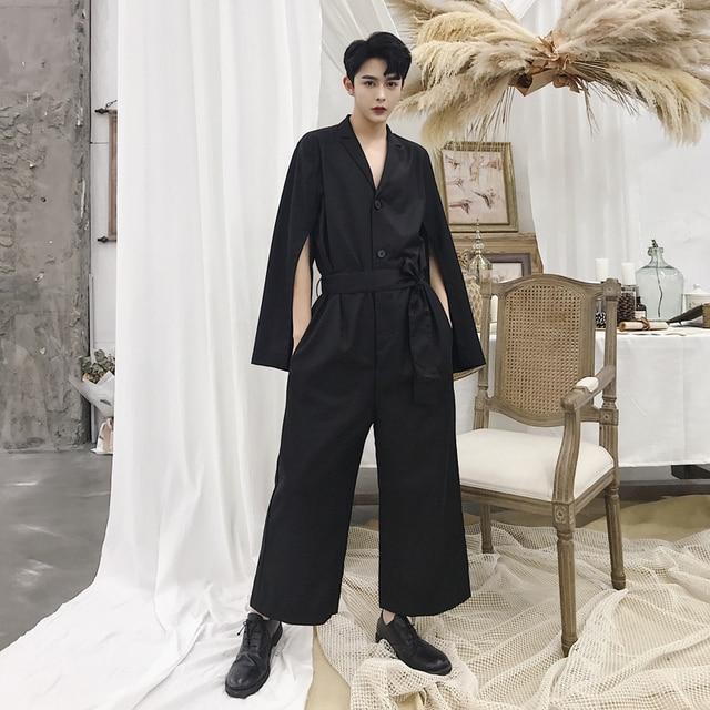 Men Autumn Fashion Show Overalls Sleeve Split Casual Jumpsuits Pants