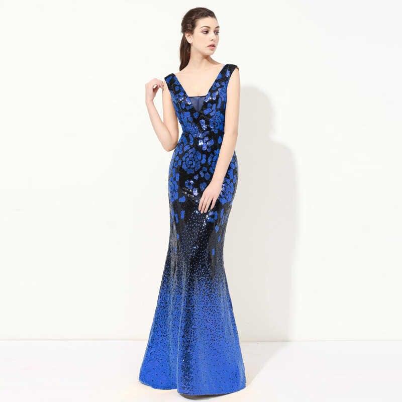 Sequin Sereia Vestido de Noite 2019 de Alta Qualidade Vestido Formal Longo Vestido de Festa Plus Size Mulheres Elegantes Vestidos de Baile Vestido Longo