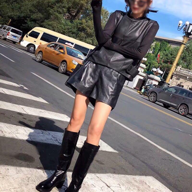 Image 3 - Women Genuine Leather Waistcoat Sheepskin Loose Fit Pullover  Sleeveless Jacket Lady Autumn Short Leather Vest Streetwear TopsVests