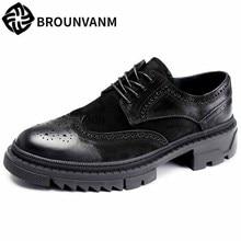 Spring summer Bullock carved shoes men Genuine Leather retro British leisure thick bottom mens luxury designer