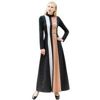 Ladies OL Style Cotton Elgant Vintage Striped Black Long Dress Long Sleeves Patchwork Design Slim Waist